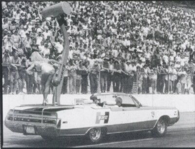 1970 Chrysler 300 Hurst convertible serving as Hurst shifter parade float, featuring then Miss Hurst, Linda Vaughn