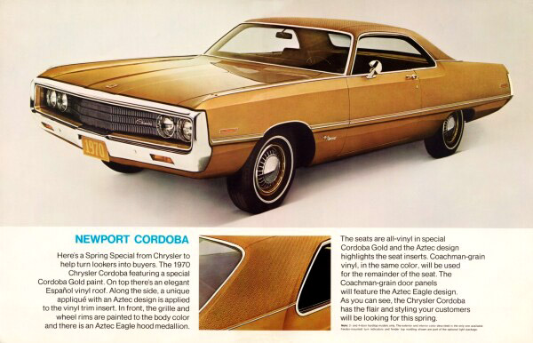 1970 Chrysler Newport Cordoba dealer information folder