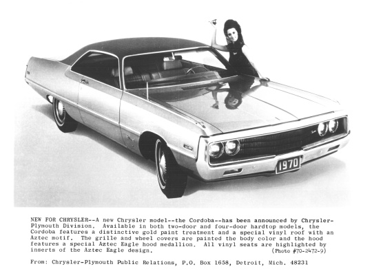 1970 Chrysler Cordoba press release photo