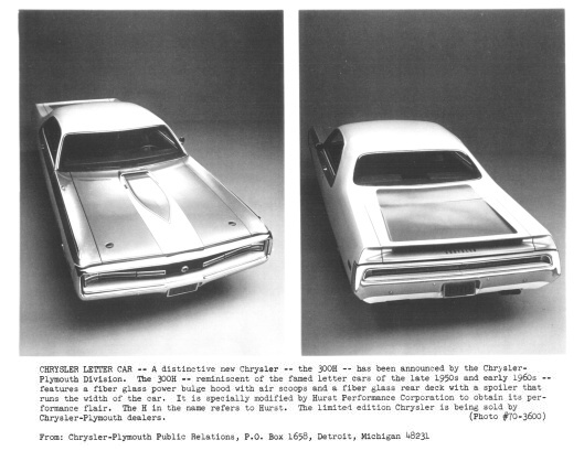1970 Chrysler 300 Hurst Press Release photo