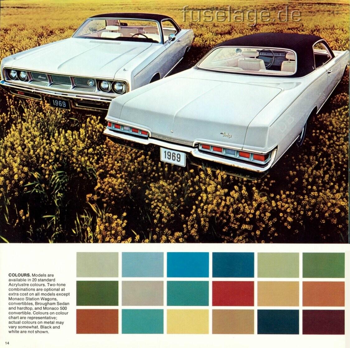 Canadian 1969 Dodge Polara Monaco Catalog Part 1 Charger Color Chart