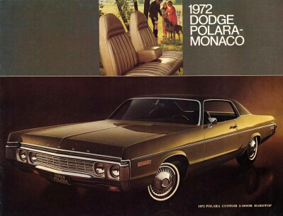 1972 Dodge Polara and Monaco sales catalog cover, sporting a Polara Custom 2-door Hardtop