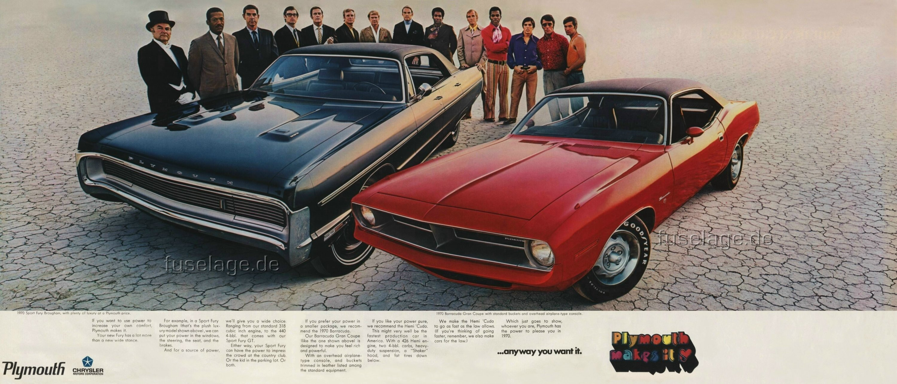 ad promoting the 1970 plymouth sport fury