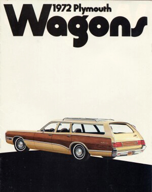 Cover of the 1972 Plymouth station wagon catalog showing rear of 1972 Fury Sport Suburban