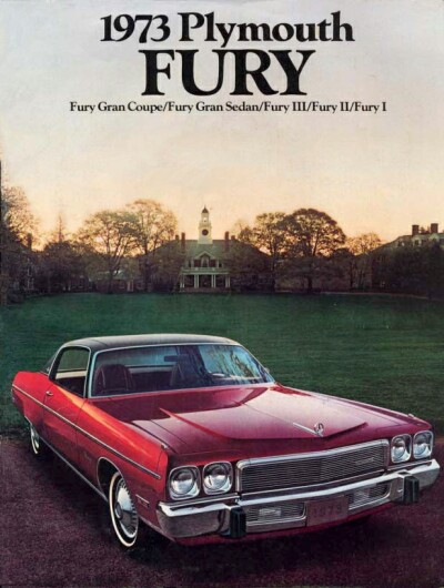 1973 Plymouth Fury sales catalog showing Gran Coupe